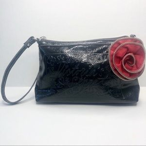 Victoria Secret Black Red Rose Wristlet Small Bag